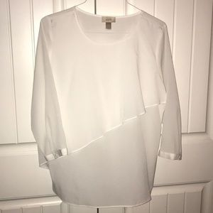 White Loft blouse with ruffle detail